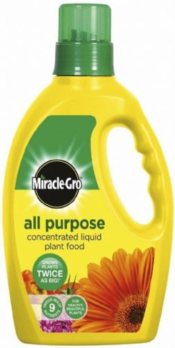 MIRACLE-GRO ALL PURPOSE LIQUID PLANT FOOD CONCENTRATED FERTILISER 1L 9 NUTRIENTS